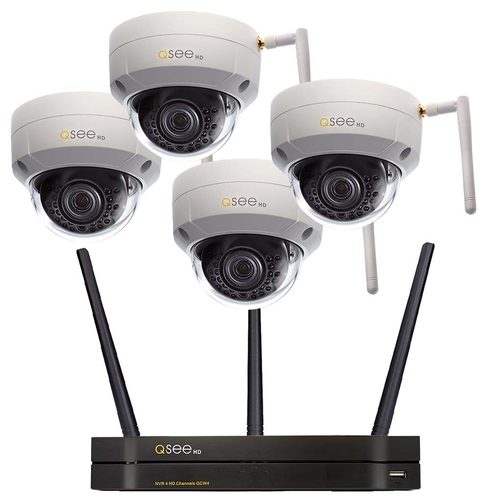 4-Channel Wi-Fi Security System with 4 Wi-Fi 3MP Dome Security Cameras and 1TB HDD (QCW4-4EQ-1) Wi-Fi  - Q-See
