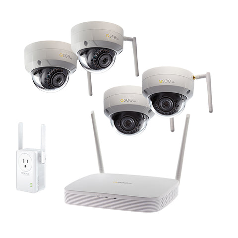 8-Channel Wi-Fi Security System with 1TB HDD, 4 Wi-Fi 1080p Dome Security Cameras and 1 Wi-Fi Extender (QSW8-4EQ-1E)