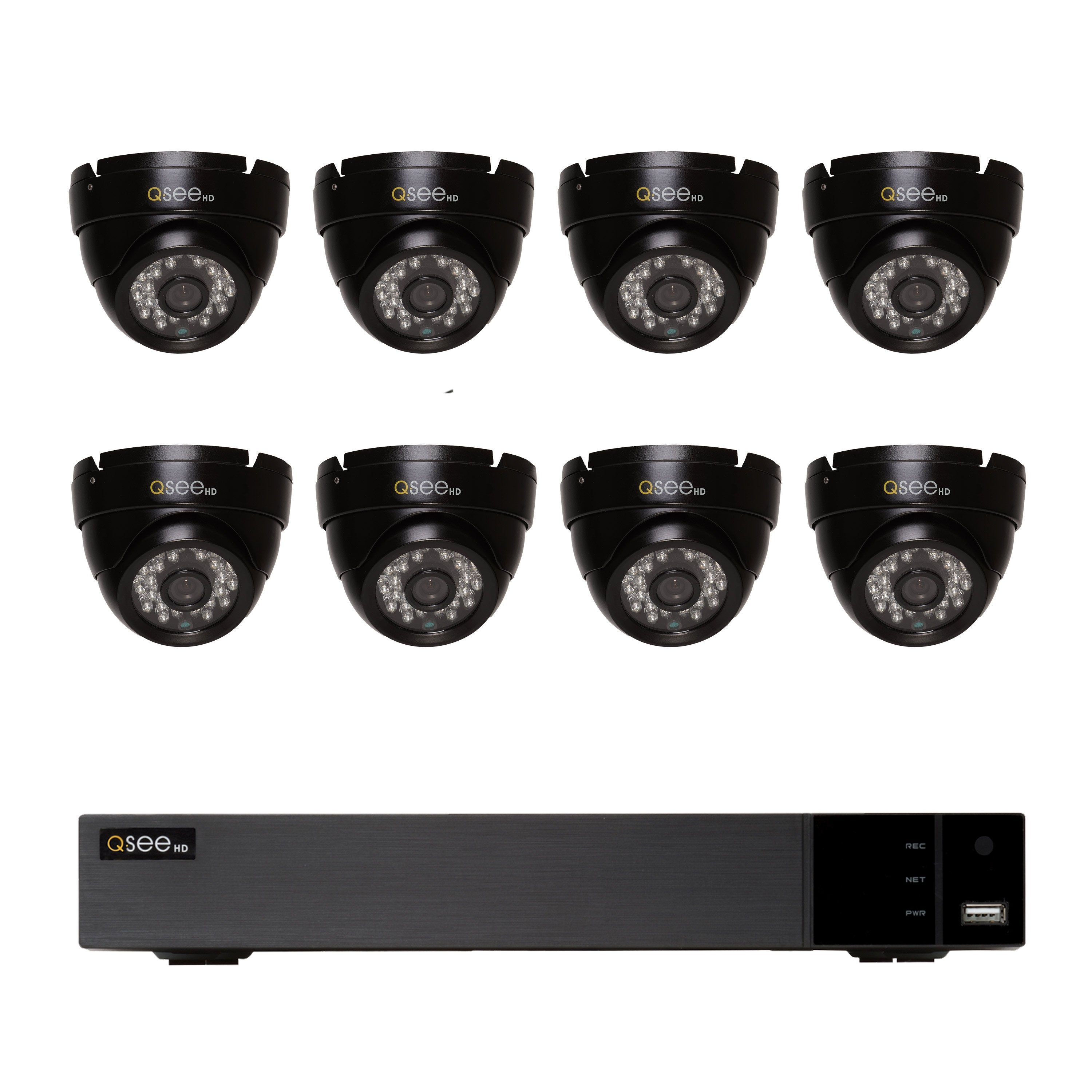 16 Channel Analog HD DVR with 2TB Hard Drive and (8) 720P Dome Cameras (QTH161B-8CP-2) ANALOG HD KIT  - Q-See
