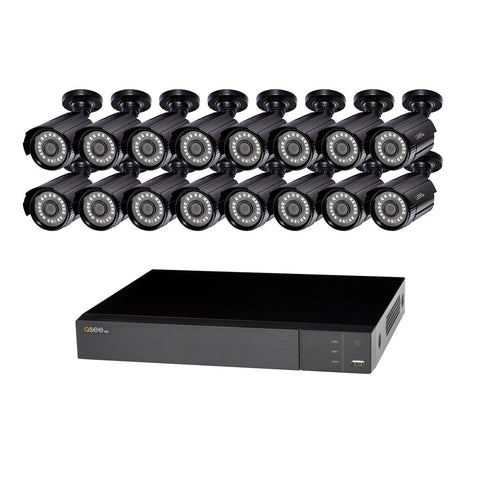 16 Channel Analog HD 1080p PIR DVR with (16) 1080p Bullet Cameras and 2TB HDD (QTH916-16HQ-2) ANALOG HD KIT  - Q-See