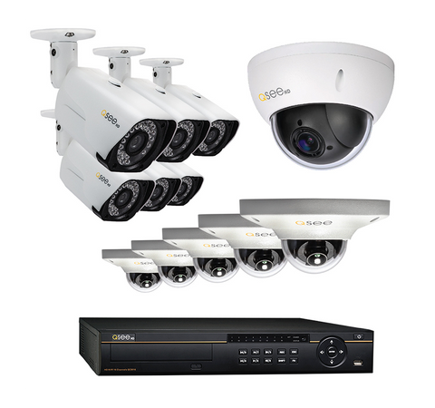 n/a Q-See 16-Channel HD IP System with 6 4MP Cameras, 5 3MP Dome Cameras and 1 PTZ Camera QC8816-12CL-4