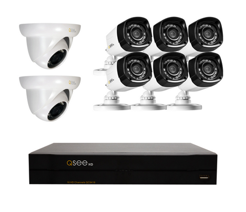 n/a Q-See 16 Channel HD Security System with 8 HD 720p Security Cameras (QC9416-8Z1-2)