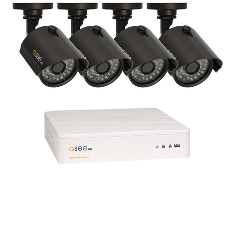 n/a Q-See 4 Channel BNC HD Security System with 4 BNC HD 720p Security Cameras (QTH4-4Z3-1)