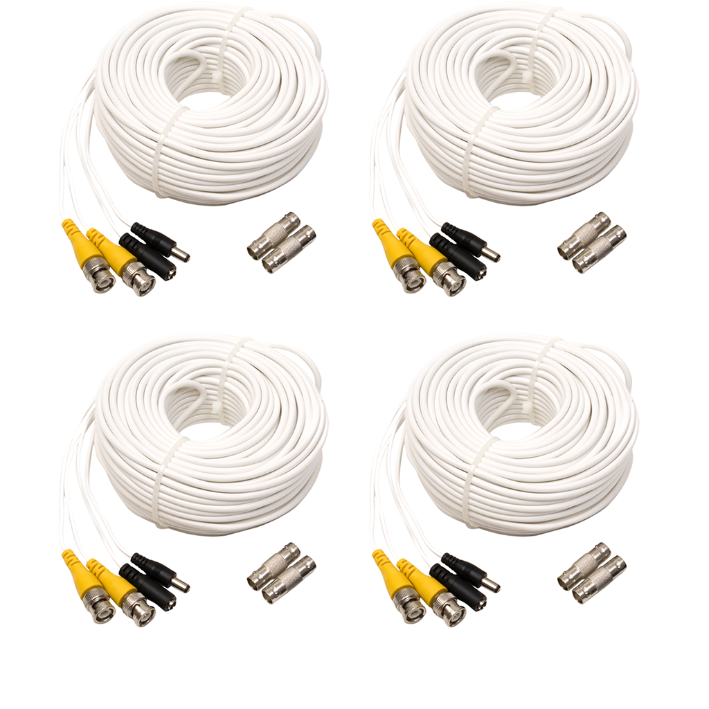 4-Pack 100ft BNC Male Cable with 2 Female Connectors (QS100B4PK)