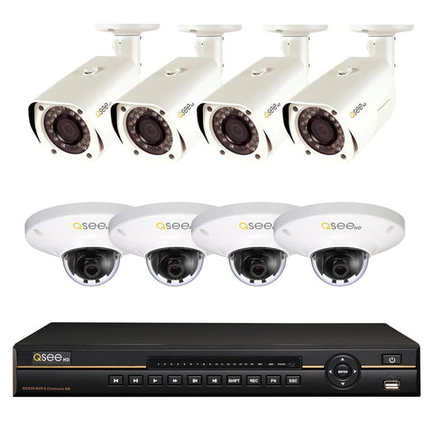 Q-See 8-Channel IP HD NVR with (4) 3MP IP HD Bullet Cameras and (4) 3MP IP HD Dome Cameras (QC838B-8GL-2)