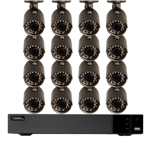 16-Channel 4K Ultra HD IP Security System with (12) 4K IP HD H.265 Bullet Cameras, 4TB HDD (QC826-12ET-4)