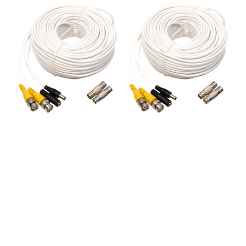 2 Pack 100 Foot BNC Male Cable with 2 Female Connectors (QS100B-2) Accessories  - Q-See