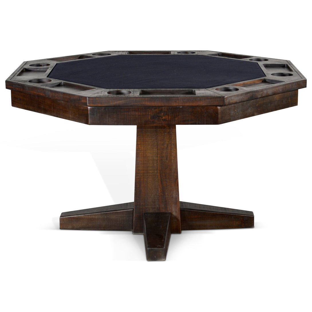 Convertible Poker & Dining Table Dark Tobacco Leaf by Sunny Designs