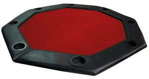 "48"" Red Felt Octagon Folding Table Top with Padded Rail - Americana Poker Tables"