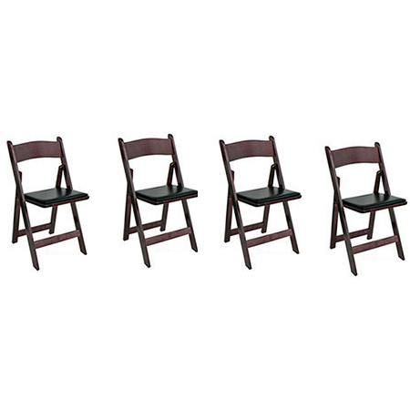 Matching Chair Set: 4 Oak Kestell Folding Chairs - Americana Poker Tables