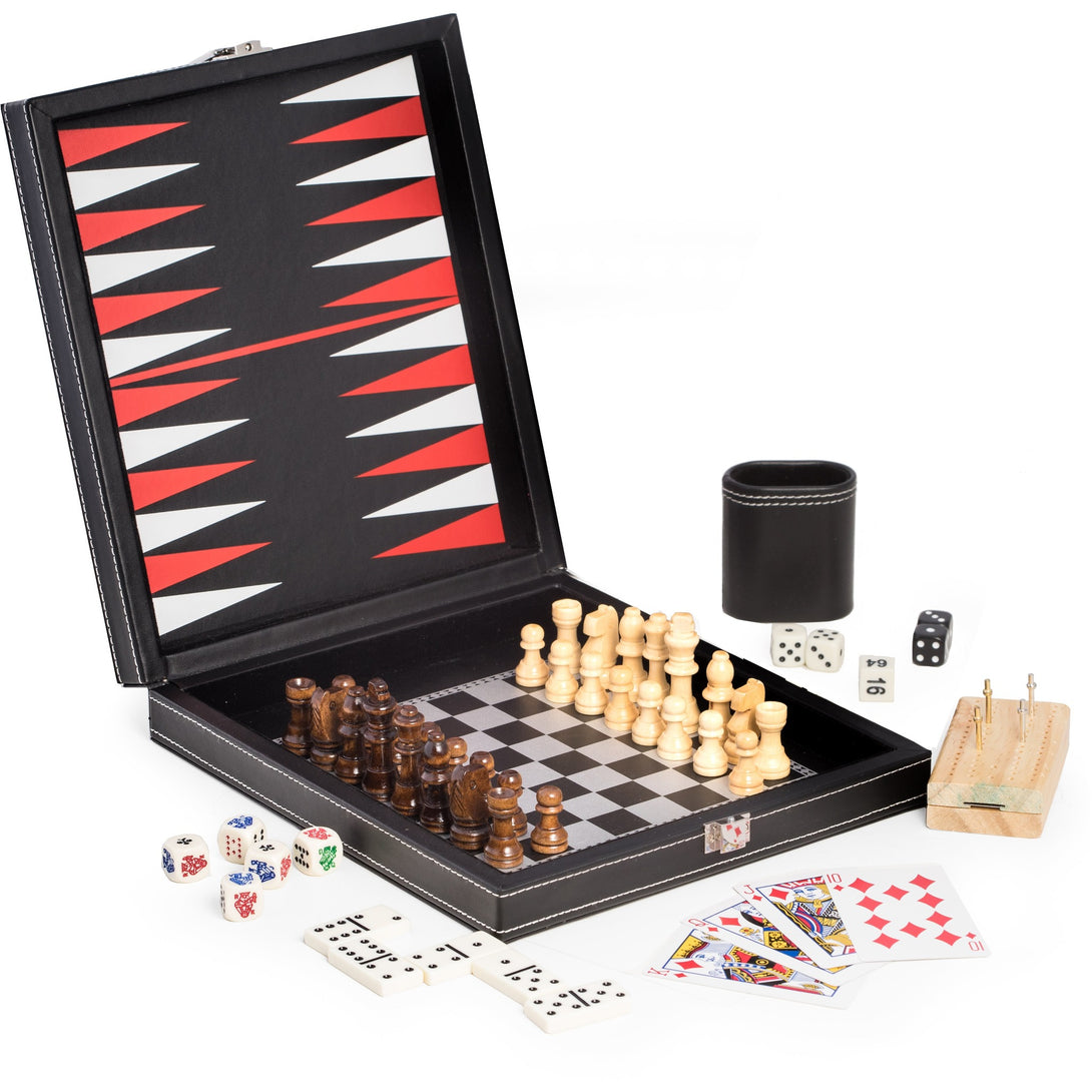 5 in 1 Game Set in Black Leatherette (with Chess, Backgammon, Poker Dice and Playing Cards, etc.), by Bey Berk - Americana Poker Tables
