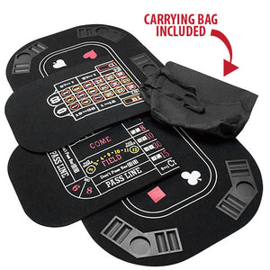 5 in 1 Table Top with Poker, Blackjack, Roulette, Craps Surface & Storage Case
