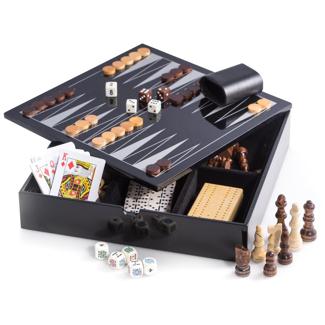 Black Lacquered Wood Multi Game Set, by Bey Berk - Americana Poker Tables