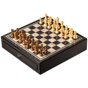 "Bey Berk ""Carbon Fiber & Mother of Pearl"" Design Chess Set with Accessory Drawers - AMERICANA POKER TABLES"