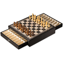 "Bey Berk ""Carbon Fiber & Mother of Pearl"" Design Chess Set with Accessory Drawers"