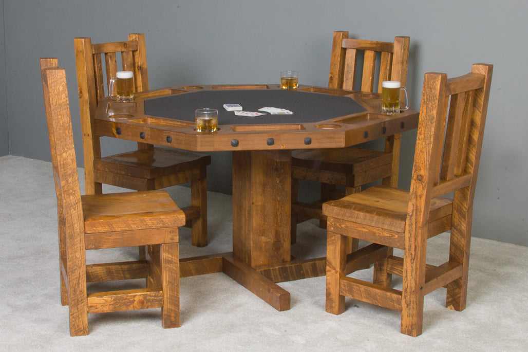 Viking Log Poker & Dining Table Set Barnwood with Matching Wood Seat Chairs - AMERICANA POKER TABLES