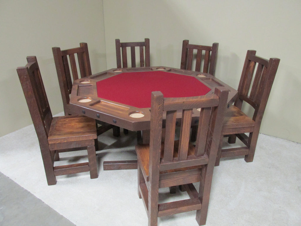 Viking Log Poker & Dining Table Set Barnwood with Matching Cushion Seat  Chairs