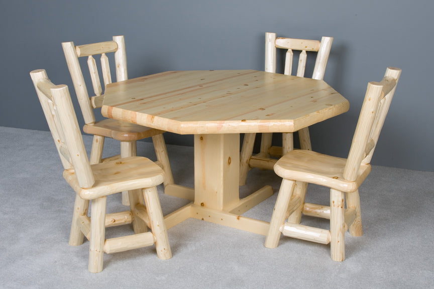 Viking Log Poker Table Set Northwoods Log with Matching Cushion Seat Chairs