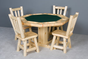 Viking Log Poker Table Set Northwoods Log with Matching Wood Seat Chairs