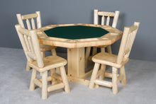 Viking Log Poker Table Set Northwoods Log with Matching Cushion Seat Chairs - Americana Poker Tables