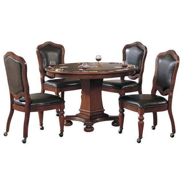 Convertible Poker & Dining Table Set Bellagio With 4 matching chairs by Sunset Trading