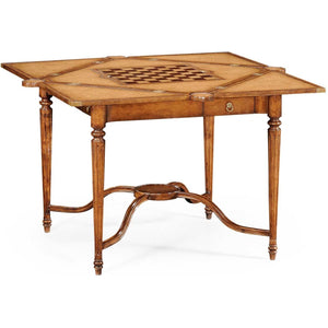 Convertible Walnut Leather Chess Table by Jonathan Charles