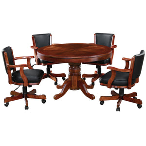 RAM Game Room Round Poker Table Set with Matching Chairs