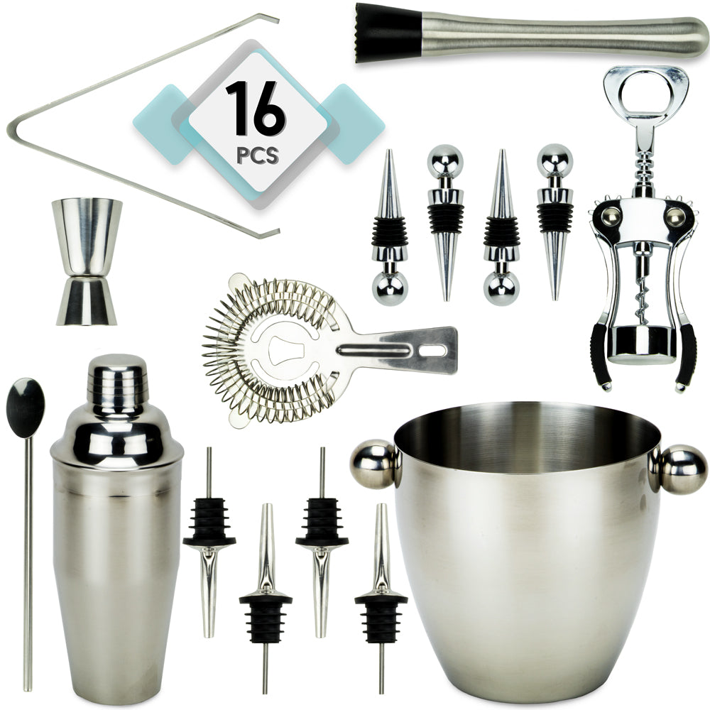 Home Bar Set, with 16 Pieces, Stainless Steel - Americana Poker Tables