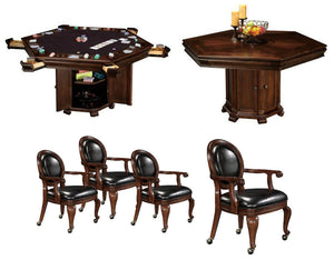 Howard Miller Poker and Dining Table set Niagara with matching chairs - AMERICANA POKER TABLES