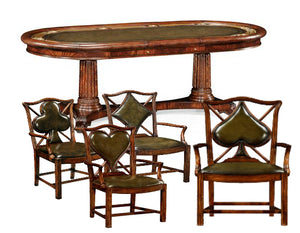 Jonathan Charles Oval Poker Table Set with Matching Chairs with Armrest