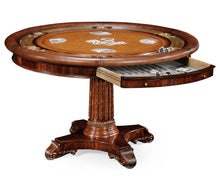 Jonathan Charles Round Mahogany Poker Table Set with Matching High Back Chairs - Americana Poker Tables