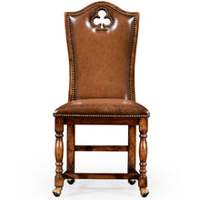 Jonathan Charles Round Mahogany Poker Table Set with Matching High Back Chairs