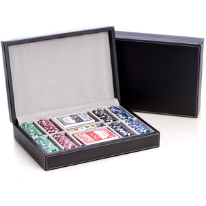 Poker Set with 200 Clay Composite Chips, in Black Leather Case, by Bey Berk - Americana Poker Tables