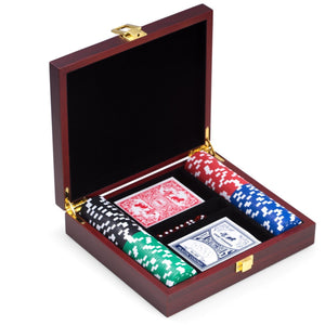 Poker Set with 100 Clay Composite Chips, in Cherry Finish Wood Case, by Bey Berk - Americana Poker Tables