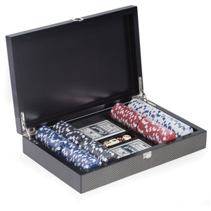 "Poker Set with 200 Clay Composite Chips, ""Carbon Fiber"" storage Case and Chrome Plated Hardware, by Bey Berk - Americana Poker Tables"