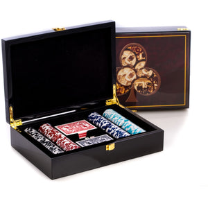 Poker Set with 200 Clay Composite Chips, in an Inlaid Lacquer Wood Box, by Bey Berk