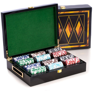 Poker Set with 300 Clay Composite Chips, in an Inlaid Lacquer Wood Box, by Bey Berk