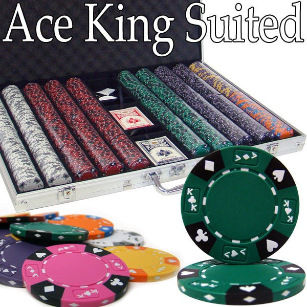Pre-Pack - 1000 Ct Ace King Suited Chip Set with Aluminum Case, by Brybelly - AMERICANA POKER TABLES