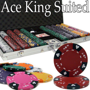 Pre-Pack - 750 Ct Ace King Suited Chip Set Aluminum Case