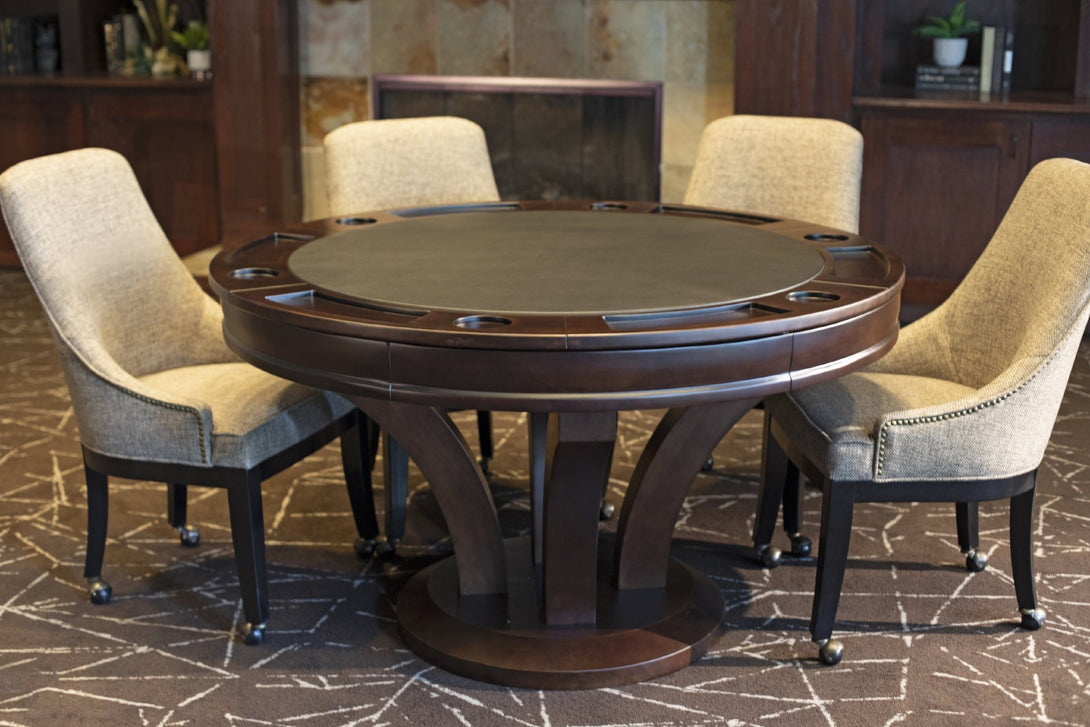 Presidential Billiard Convertible Poker Table Hamilton Set with matching Chairs - AMERICANA POKER TABLES