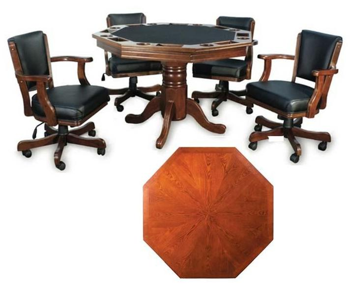 Presidential Billiards Octagonal Poker & Dining Table Set with 6 Matching Chairs - AMERICANA POKER TABLES
