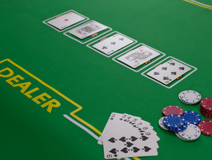 Rollout Gaming Poker Table Top with Dealer Position