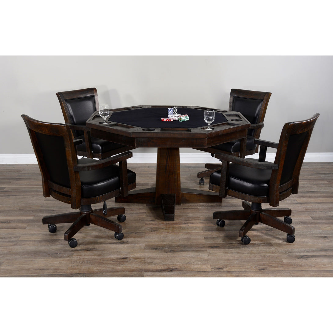 Sunny Designs Poker & Dining Table Set Tobacco Leaf (Brown Finish) Poker with Table & Matching Chairs