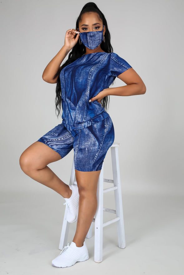 U Feel Me....Denim Print Biker Short Set