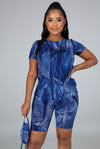 U Feel Me....Denim Print Biker Short Set.