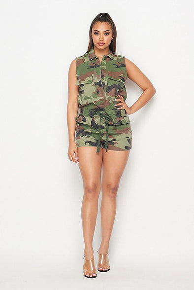 I Need A Soldier....Camo Sleeveless Romper.