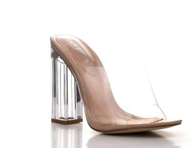 Fusion Transparent Chunky Clear Heels.