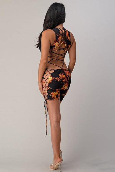 Hottie....Flame Print Back Tie Up Romper.