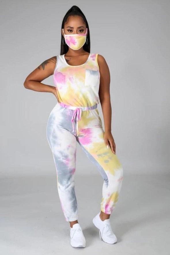 Jump Into it... Tie Dye Jumpsuit w/ Mask
