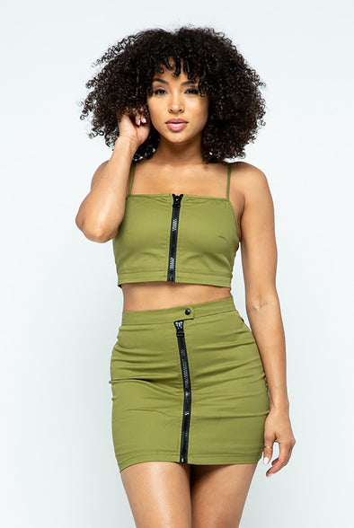 Keepher.....Front Zipper Spaghetti Strap Crop Skirt Set
